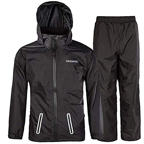 SWISSWELL Boys Rain Suit with Hood Black Size 8, Black Suit, Size 8