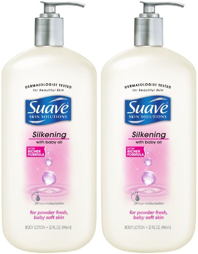 Suave Silkening with Baby Oil Body Lotion, 32 oz