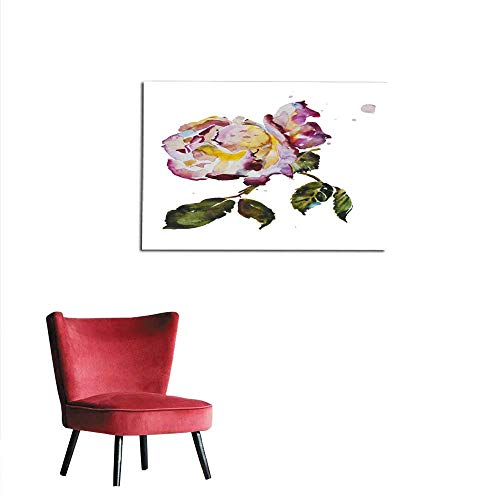 Leaf Cream Wallpaper - Wall Paper Cream and Purple Rose with Leaves Mural 24