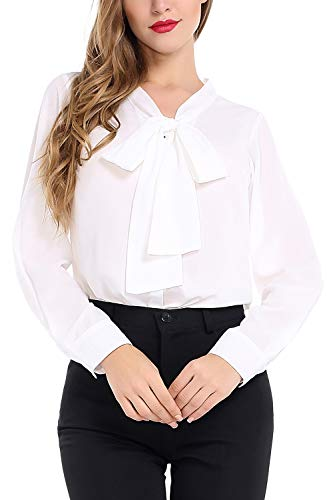AUQCO Women's Chiffon Blouse Business Button Down Shirt for Work Casual with Long Sleeve/Sleeveless White (Vintage Button Down Shirts)