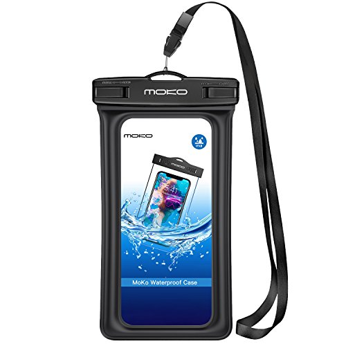 Floating Case, MoKo Universal Dry Bag Pouch with Armband Neck Strap for iPhone X/8 Plus/8/7/6S Plus, Samsung Note 8/S8+/S8, Huawei, BLU, Google Nexus - BLACK (Arm Around Shoulder)