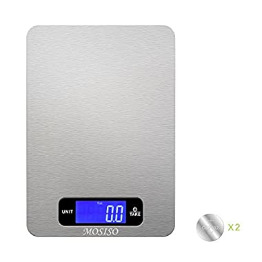 Mosiso - Digital Kitchen Scale in Refined Stainless Steel Multifunction with Fingerprint Resistant Coating (11 lbs Edition)