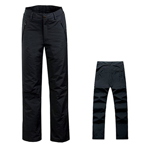 WELOVE Insulated Snow Pant Men's Essential Snow Pants Outdoor Waterproof Windproof Fleece Cargo Snow Ski Hiking Pants Black XXL Ballistic Windproof Fleece
