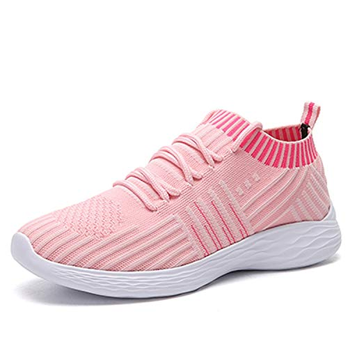 (Little Happiness- Fashion Fly Weave Breathable Women Sneakers 2019 Autumn Winter Mesh Women Shoes Casual Shoes,Pink Shoes,7)