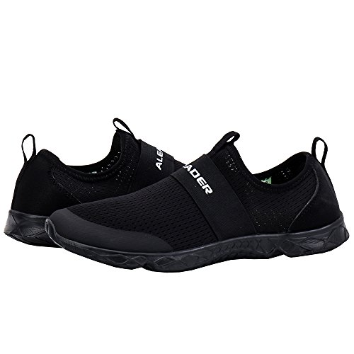 ALEADER Women's Quick-Dry Aqua Water Shoes All Black 7 D(M) US by ALEADER (Image #7)