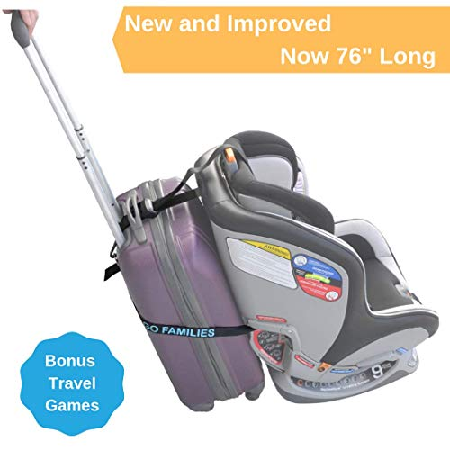 Car Seat Luggage Strap by On The Go Families - Travel Accessory to Turn Your Carry-On Suitcase into Carseat Carrier & Stroller for The Airport - Make Traveling with Toddlers Easier - Light & Portable (Best Luggage Cart For Car Seats)