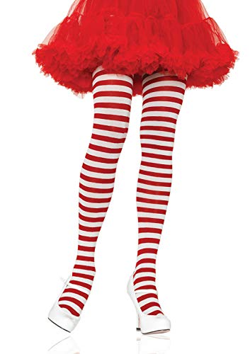 Leg Avenue Women's Nylon Striped Tights, White/red,