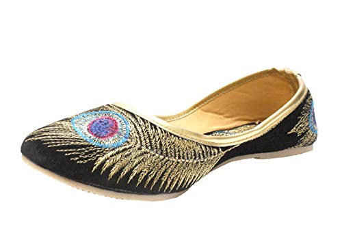 ab5a9f6d4c573d StopHere Women s Krishna Collection Velvet Leather Juti 6 UK  Buy ...