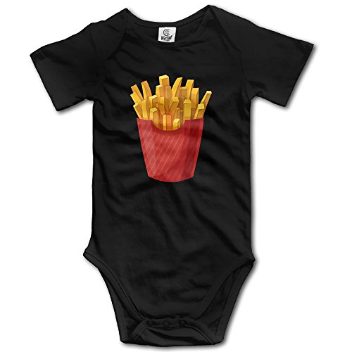 [Duola Infants Boy's & Girl's French Fries Short Sleeve Bodysuit Outfits For 6-24 Months Black 18] (French Fries Costume Toddler)