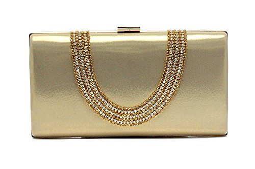 EPLAZA Large Capacity Rhinestone Beaded Women Evening Clutch Bags Handbags Wedding Party Purse - Beaded Bag Gold