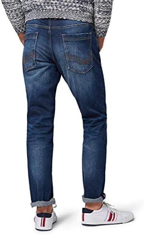 Tom Tailor męskie spodnie jeansowe Josh Regular Slim Jeans Mid Stone Wash Denim, 34/30: Odzież