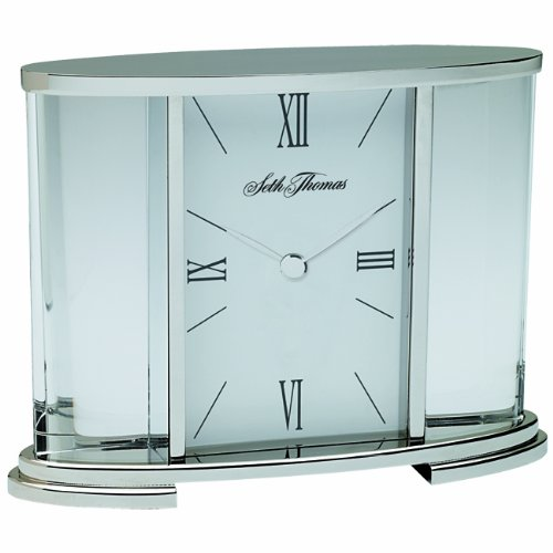 Seth Thomas Desire Highly Polished Silver Tone Metal and Glass Case with White Dial Carriage Mantel Clock (Polished Dial White)