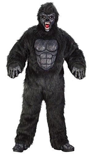 Black Gorilla Adult Mens Plus Size Costumes (Men's Ferocious Gorilla Mascot Theme Jungle Party Adult Halloween Costume, Plus (48-52))