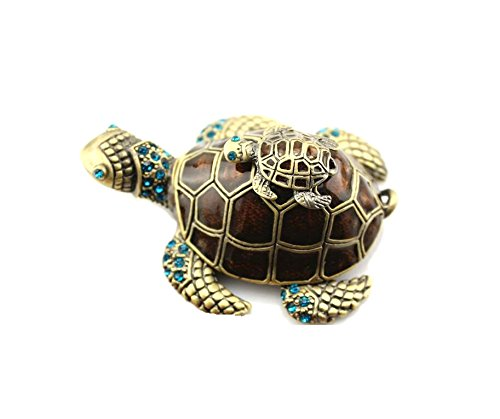 OYLZ Bejeweled Mother and Baby Sea Turtle Jewelry Trinket Box with Crystals