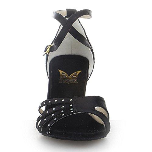 Jia Jia Y20525 Damen Sandalen Ausgestelltes Heel Super-Satin mit Strass Latein Tanzschuhe Schwarz