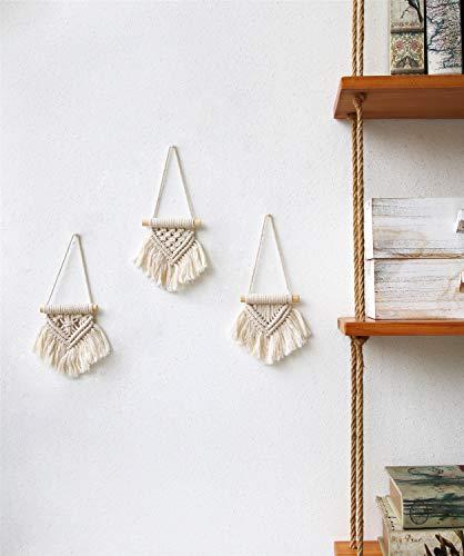 Mkono Mini Macrame Wall Hanging Set of 3 Cute Macrame Holiday Ornaments Boho Art Woven Decor for Nursery Apartment…