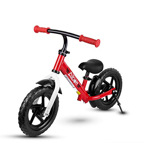 """Albott Kids Balance Bike - 12"""" No Pedal Sport Bicycle for 1.5 to 6 Years Children Toddlers with Adjustable Handlebar and Seat Beginner Walking Bicycle with Support Foot & Fenders for Boys and Girls"""