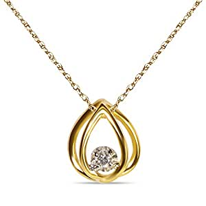 Ladies 03ct 10k yellow gold tear drop pendant for Selling jewelry on amazon