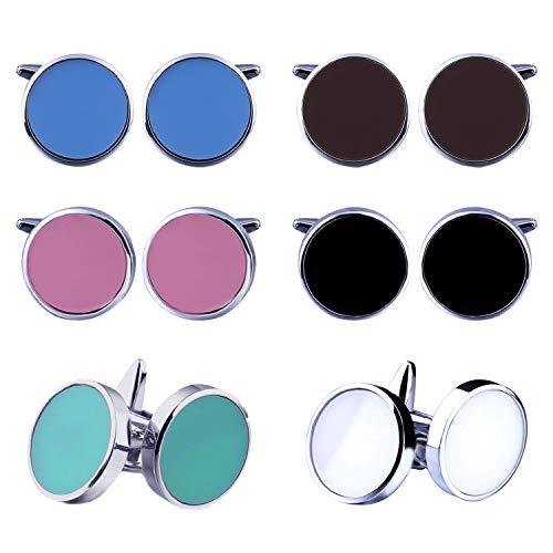 BodyJ4You 12PC Cufflinks Button Shirt Men Round Enamel Black White Blue Jewelry Gift Box 6 ()