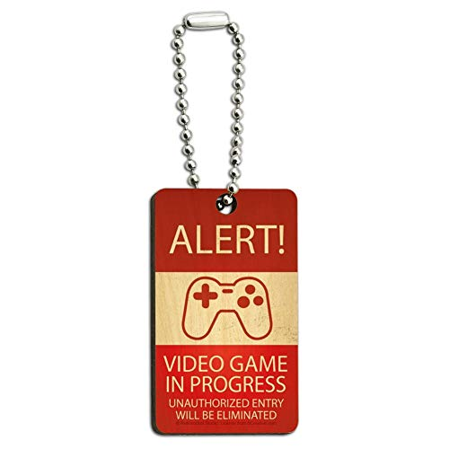 (Alert Video Game in Progress Unauthorized Entry Eliminated Wood Wooden Rectangle Keychain Key Ring)