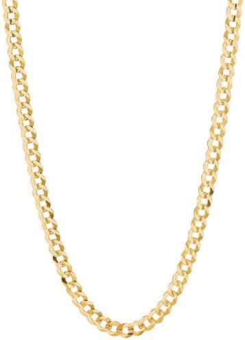 14K Solid Yellow Gold Comfort Concave Cuban Curb Link Chain Necklace 4.7 Mm Cc120