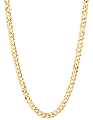 14K Solid Yellow Gold Comfort Concave Cuban Curb Link Chain Necklace 4.7 Mm Cc120 (30 Inches)