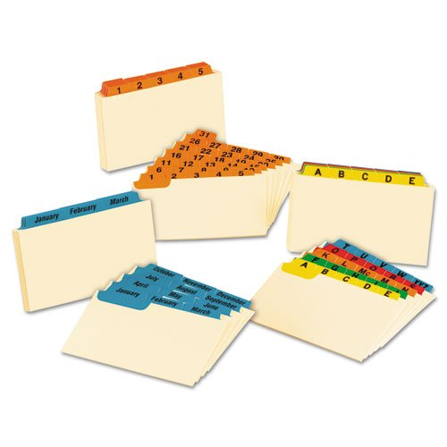 Laminated Tab Index Card Guides, Daily, 1/5 Tab, Manila, 3 x 5, 31/Set