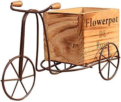 7°MR Triciclo de madera Modelo Maceta Hierro forjado Bicicleta Soporte de flor Estante de almacenamiento interior Home Garden Desktop Decor Artesanía