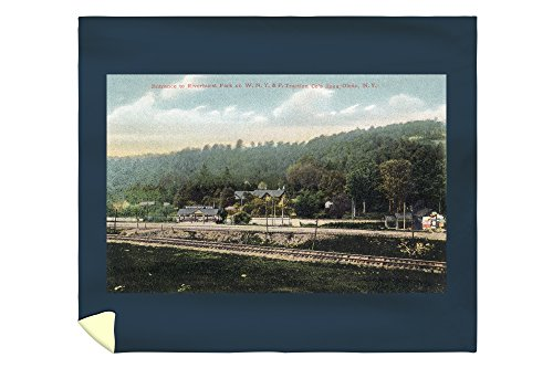 Olean, New York - WNY&P Railroad Lines; Riverhurst Park Entrance Scene (88x104 King Microfiber Duvet Cover) (Olean New York compare prices)
