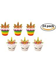 Unicorn Cupcake Toppers and Wrappers Decorations Party - 24 Pack, Perfect for Birthday Party, Bachelorette, and Baby Shower Decorations