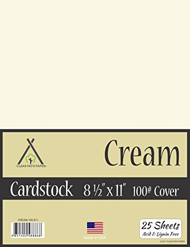 Cream White Cardstock - 8.5 x 11 inch - 100Lb Cover - 25 Sheets (Cardstock Sheet Cardstock 25)