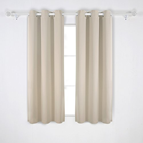 Deconovo Room Darkening Thermal Insulated Grommet Blackout Window Curtains For Living Room Curtain Panels Beige 42×63 Inch 1 Pair