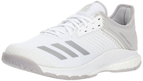 adidas Women's Crazyflight X 2 Volleyball Shoe, White/Silver Metallic/Grey, 8 M US