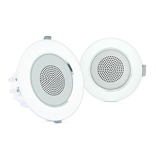 "4"" Ceiling Wall Mount Speakers - Pair of 2-Way Full Range Sound Stereo Speaker Audio System Flush Design w/Aluminum Alloy Frame Housing 60Hz - 20kHz Frequency Response & 160 Watts Peak - Pyle PDIC4 by Pyle"