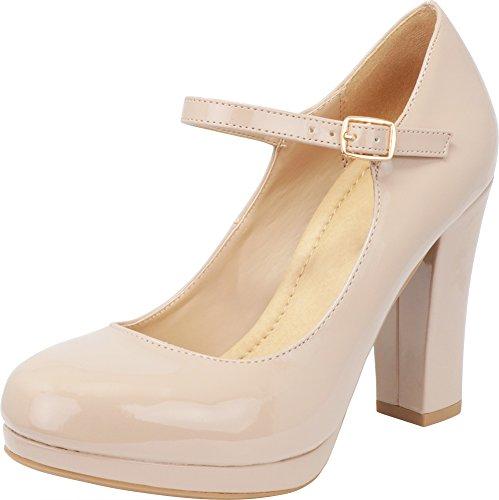 Cambridge Select Women's Closed Round Toe Buckled Mary Jane Padded Comfort Platform Chunky Heel Pump,9 B(M) US,Dark Beige Patent (Buckled Patent Pumps)