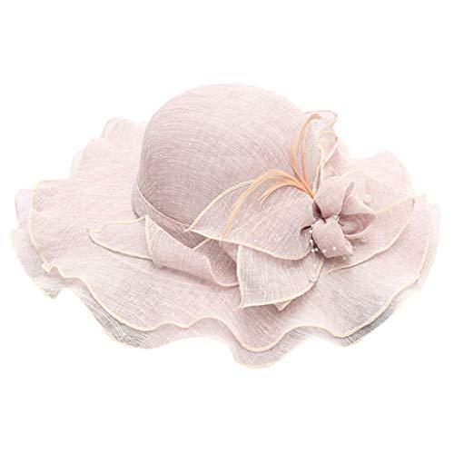 ℱLOVESOOℱ Women's Organza Church Bridal Tea Party Wedding Hat Wide Brim Mesh Visor Summer Holiday Beach Flower Sun Hat Purple