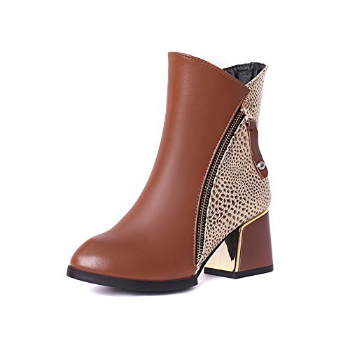 AllhqFashion Women's Zipper Pu Pointed Closed Toe Kitten Heels Assorted Color Boots, Brown, 33 -