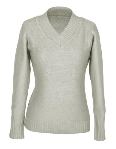 G2 Chic Women's Solid Longsleeve Ribbed V-Neck Sweater(TOP-SWT,LGY-SMALL)