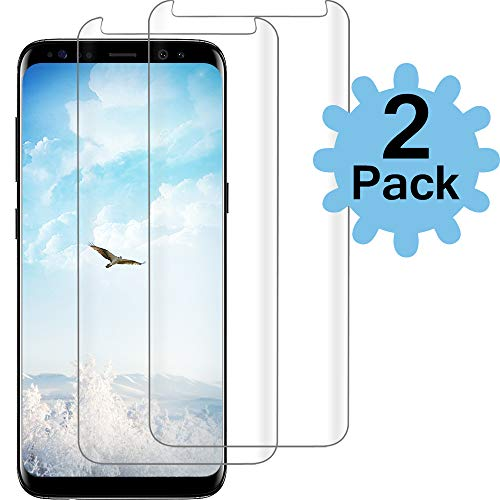 [2PACK] Galaxy S8 Clear Screen Protector,[Case Friendly][Anti-Fingerprint] Tempered Glass Screen Protector Compatible with Samsung Galaxy S8 (Best Galaxy S8 Screen Protector)