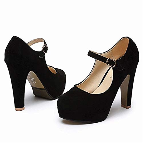 Chaussures Pour Femmes À chaussures Carrés Hauts Talons Bas Femme Escarpin Noir chaussures De gZYTq0YX