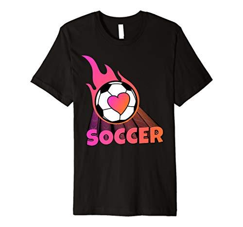 Cute Flaming Pink Soccer Ball Premium - T-shirt Flaming Ball Soccer