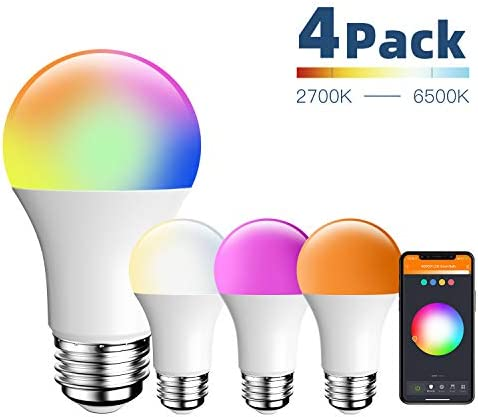 Amico LED Smart Light Bulb, RGB Color Changing WiFi Bulb 2.4G , No Hub Required,Compatible with Alexa, Siri, Google Home, A19 E26 9W 60W 4 Pack