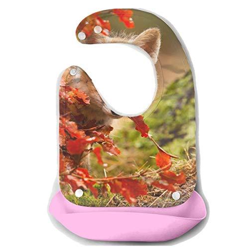 Waterproof Baby Super Bib Feeding Roll-up Bibs Fox Leaf Animal Silicone Bib For -