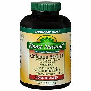 Finest Natural Calcium 500+D Caplets 375 ea