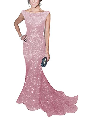Gown Silhouette Mermaid Prom (SOLOVEDRESS Women's Mermaid Sequined Formal Evening Dress for Wedding Prom Gown (US 22 Plus,Pink2))