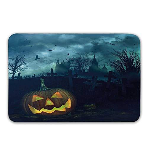 TecBillion Halloween Front Door Mat,Halloween Pumpkin in Spooky Graveyard Eerie Gloomy Stormy Atmosphere Doormat for Inside or Outside,23.6