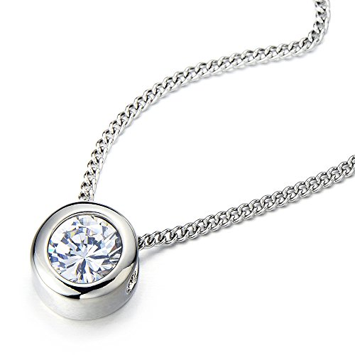 Stainless Zirconia Solitaire Pendant Necklace