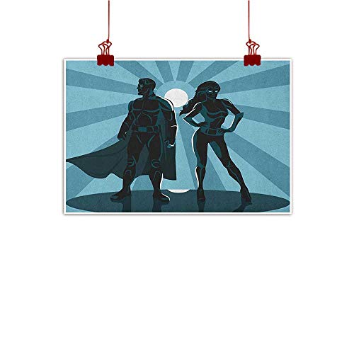Anyangeight Home Wall Decorations Art Decor Superhero,Man and Woman Superheroes Costume with Masks Capes Night Protector in Moonlight,Blue Teal 36