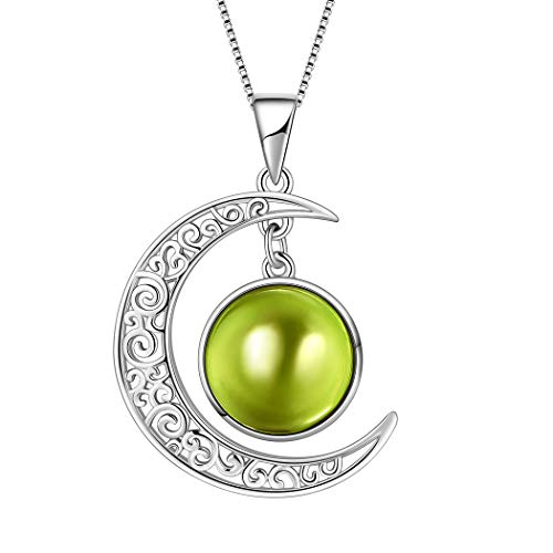 Aurora Tears August Birthstone Necklaces Women 925 Sterling Silver Crescent Moon Pendants Girls Birthday Jewelry Gifts Crystal Birth Stone DP0091A