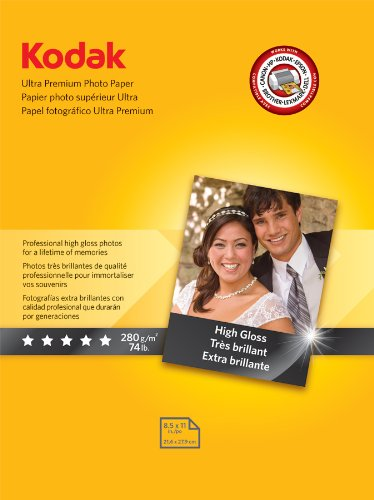Kodak High-Gloss Ultra-Premium Photo Paper, 8.5 x 11 Inches, 25 Sheets per Pack (8366353), Office Central